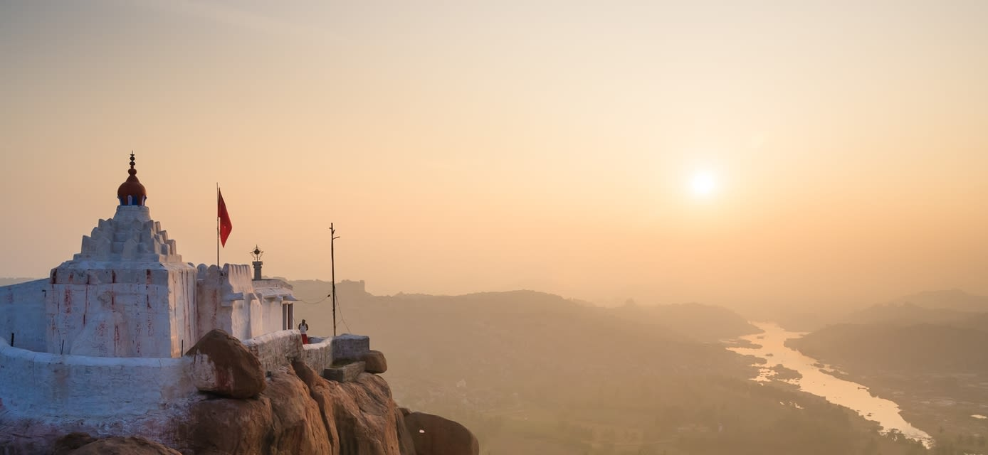 Monkey temple at sunrise, Hampi