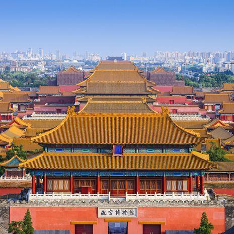Beijing, China city skyline at the Forbidden City