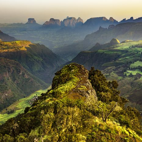 Simien Mountains National Park at sunrise, Ethiopia