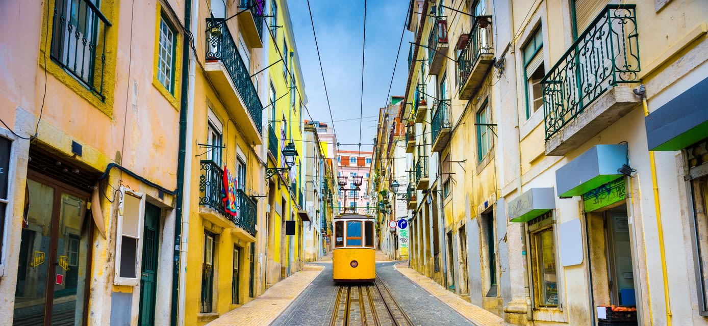 Old town streets and tram, Lisbon, Portugal