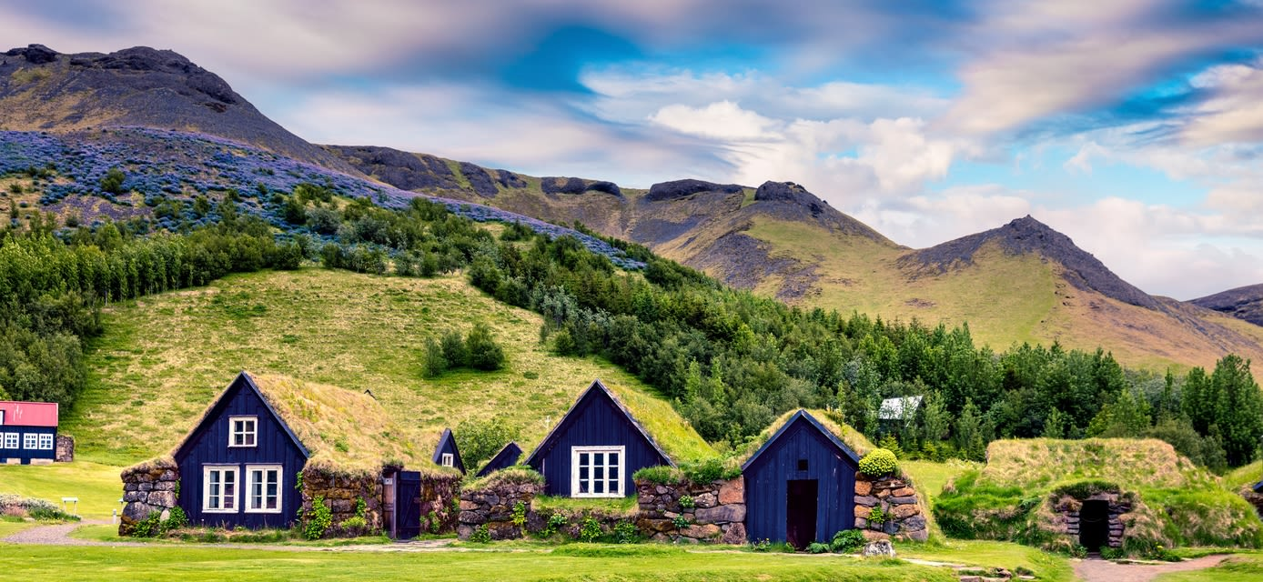 Icelandic turf-top houses, Skogar village, Iceland
