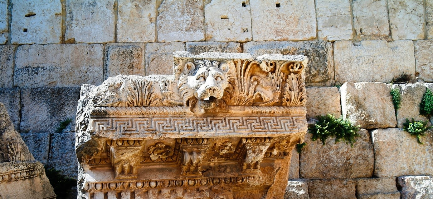Details Ruins of Jupiter temple and great court of Heliopolis in Baalbek