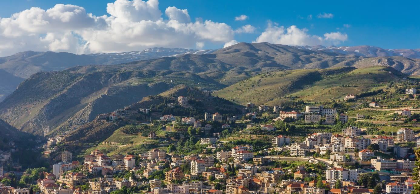 Zahle skyline cityscape in Beeka valley, Lebanon
