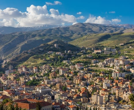 Zahle skyline cityscape in Beeka valley, Lebanon
