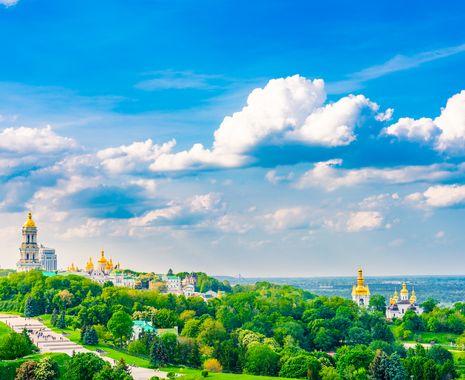 Kiev Perchersk Lavra on sunny summer day. Kiev, Ukraine
