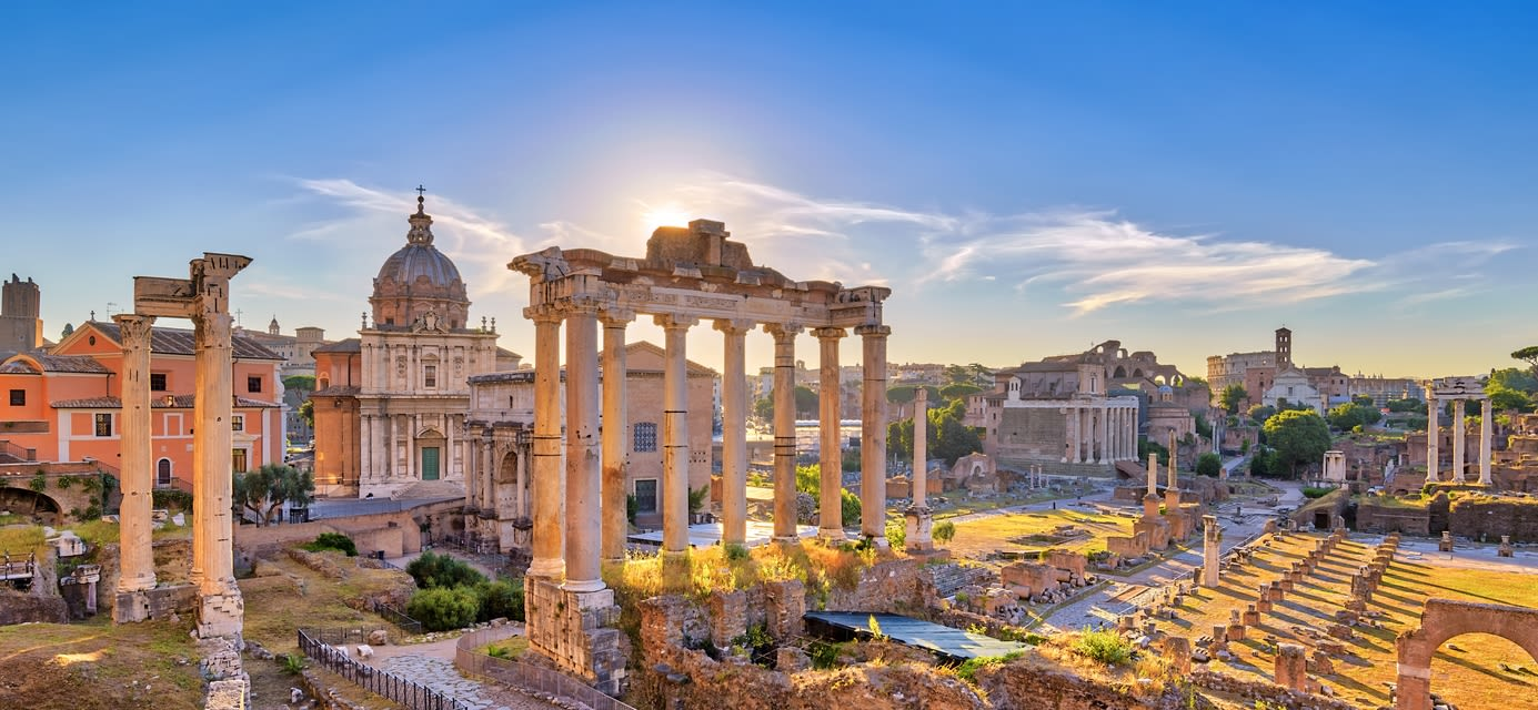 Rome Italy, sunrise city skyline at Roman Forum
