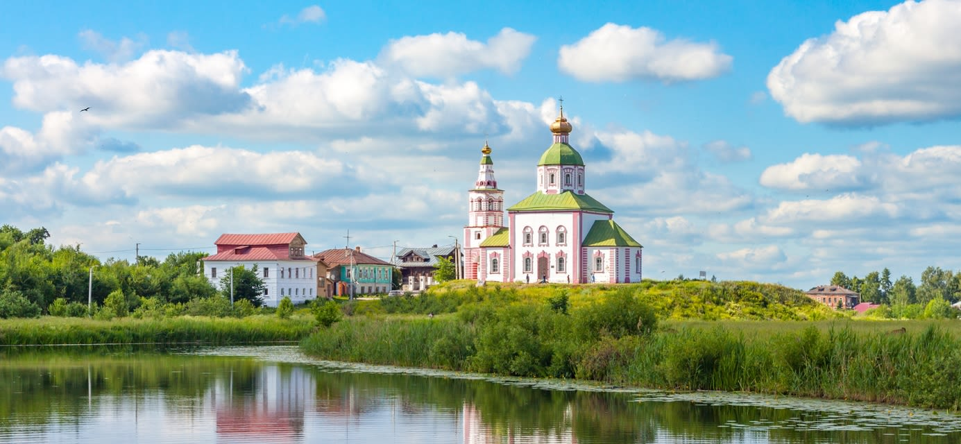 Il'inskaya church on the bank of the river Kamenka in Suzdal, Russia