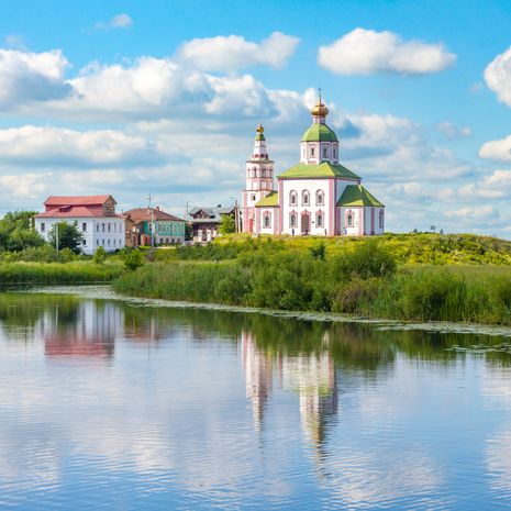 Il'inskaya church on the bank of the river Kamenka in Suzdal, Russia