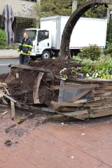 White Plains Flower Basket Damaged During Car Accident