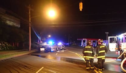 Car Slams Into Pole, Burst Into Flames On Post Road In Westport