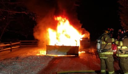 Pickup Truck Destroyed By Fire In Weston