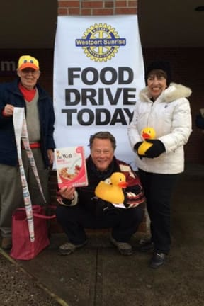 Westport's Sunrise Rotary Holds Successful Super Bowl Food Drive