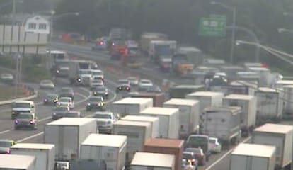 Fire On Truck Carrying Eggs Closes I-95 At Milford-Stratford Border