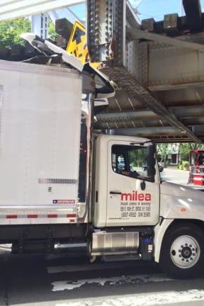 Too-Tall Truck Slams Into Metro-North Train Bridge In South Norwalk