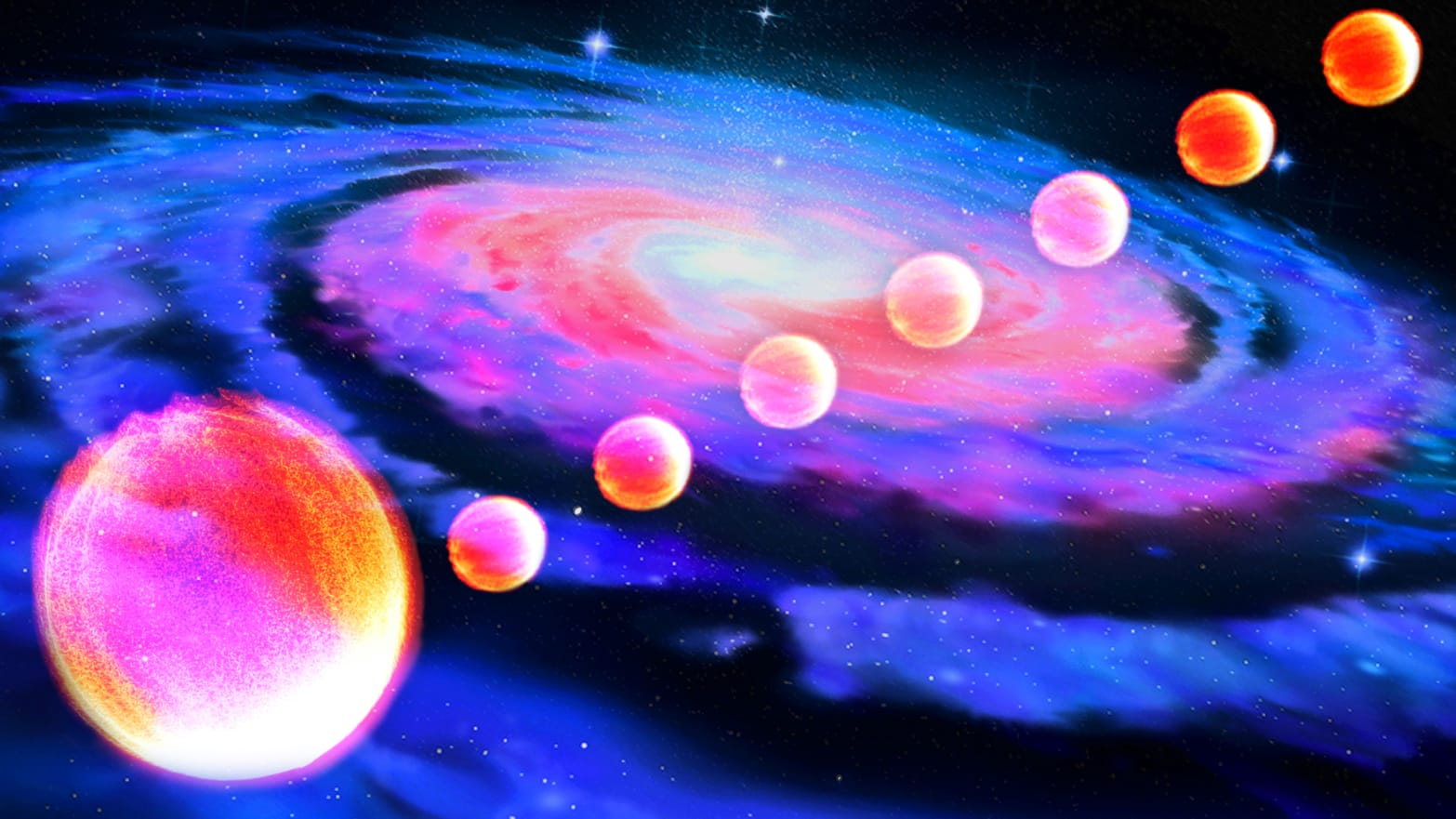 illustration of eight pinkish stars swirling in a milky way galaxy
