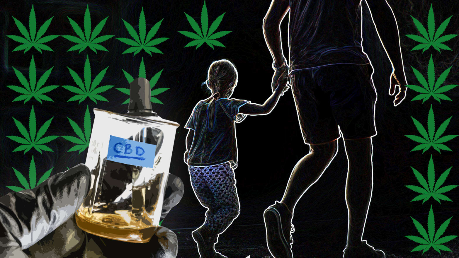 silhouette image of an adult leading a child by the hand background marijuana leaves forefront closeup of gloved hand holding cbd oil