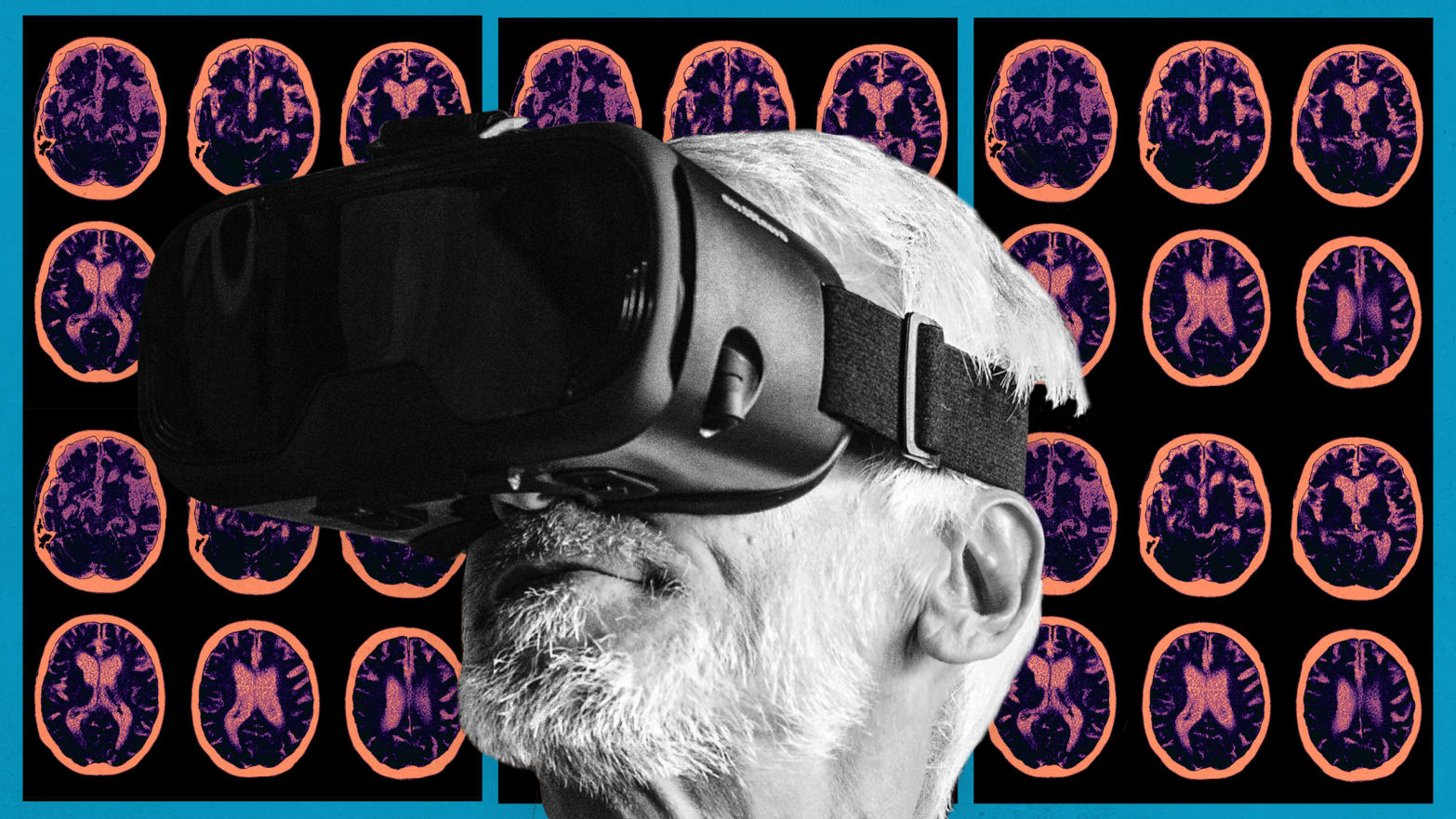 image of elderly person wearing virtual reality vr headset with brain scans behind in pink alzheimer scan virtue uk rehman gorman