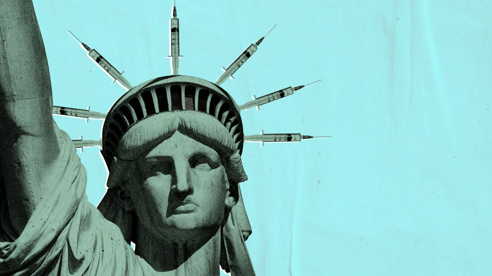 illustration of statue of liberty on pale blue background but instead of spires on crown wearing needles vaccine vaccination antivax anti vaccination orthodox hasidic jew jewish brooklyn williamsburg bill deblasio measles crisis