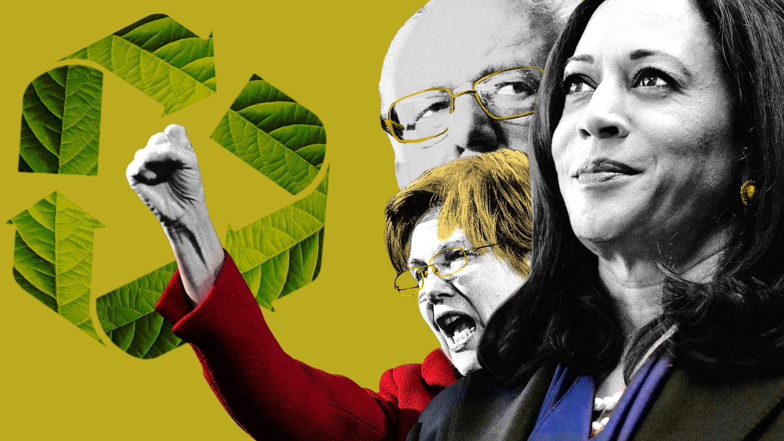 bernie sanders kamala harris elizabeth warren on yellow background with recycling sign climate change jay inslee kirstin gillibrant 2020 election democrat julian castro republican donald trump alexandria ocasio cortez green new deal environment