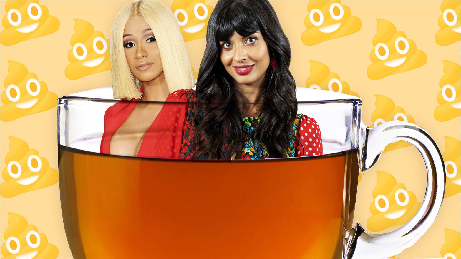 illustration of cardi b and jameela jamil floating in a cup of detox tea with poop emoji wallpaper behind them teami kylie jenner laxative diarrhea poop diet instagram kardashian fda david seres regulation debunker the good place post baby body