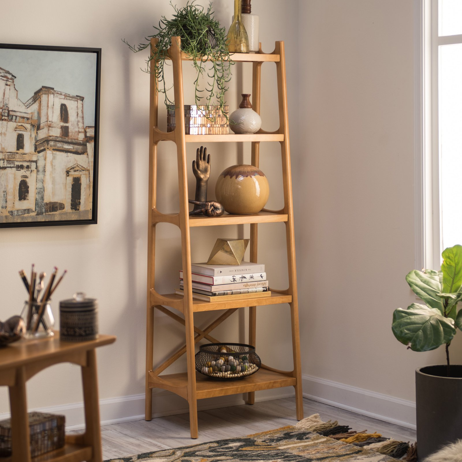 Details About Narrow Bookshelf Mid Century Bookcase Modern Display Tall Wood 5 Shelve Etagere
