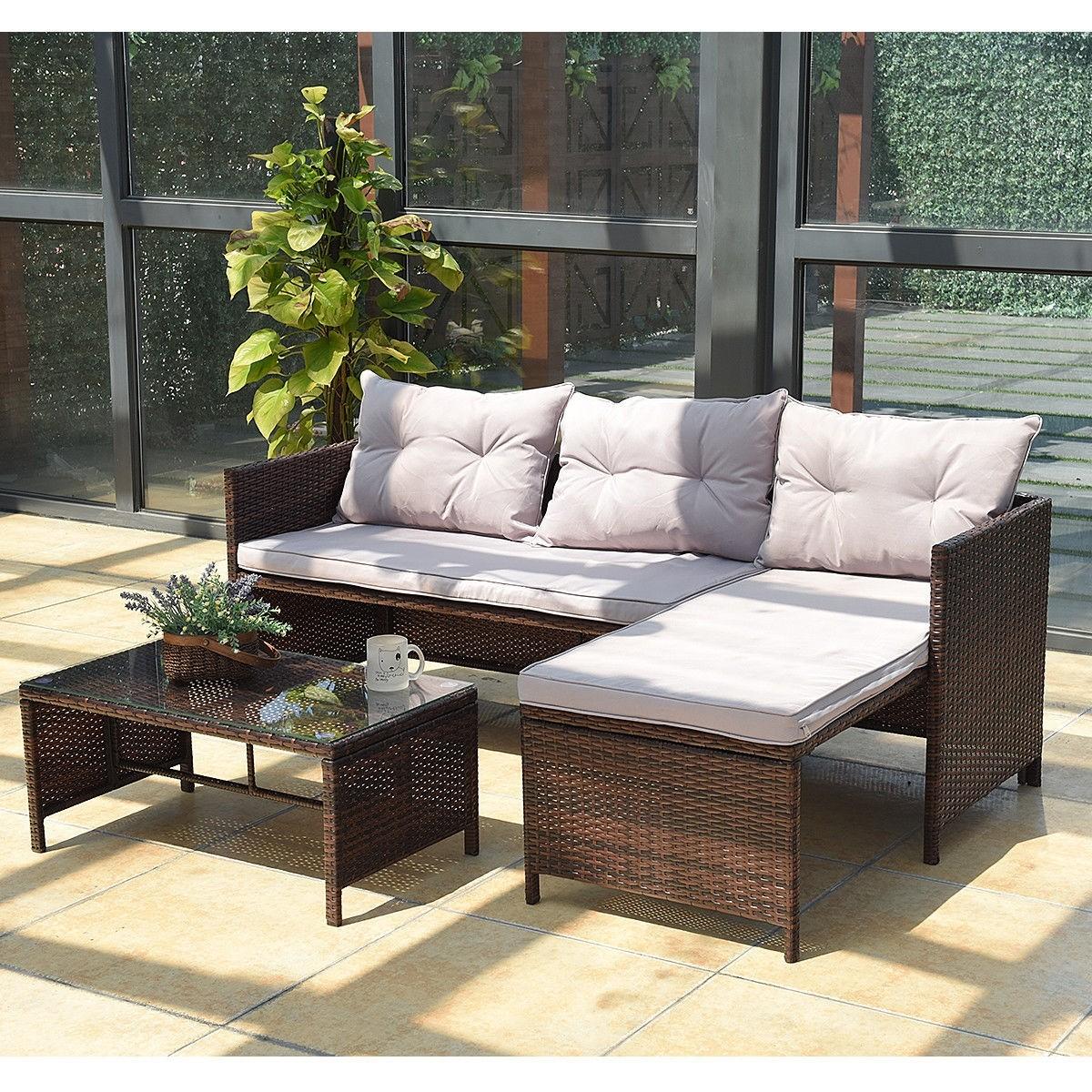 Large Outdoor Sofa Set Clearance Deck Garden Patio Rattan ... on Patio Loveseat Set id=74330
