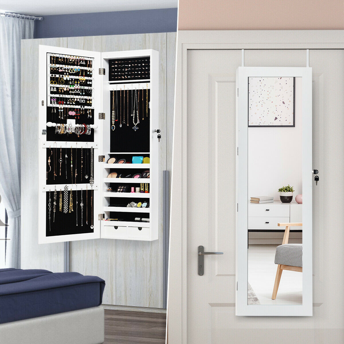 Over the Door Jewelry Organizer Armoire White Cabinet ...