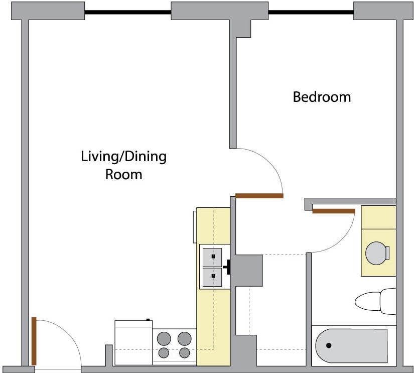 washington hall one bedroom layout