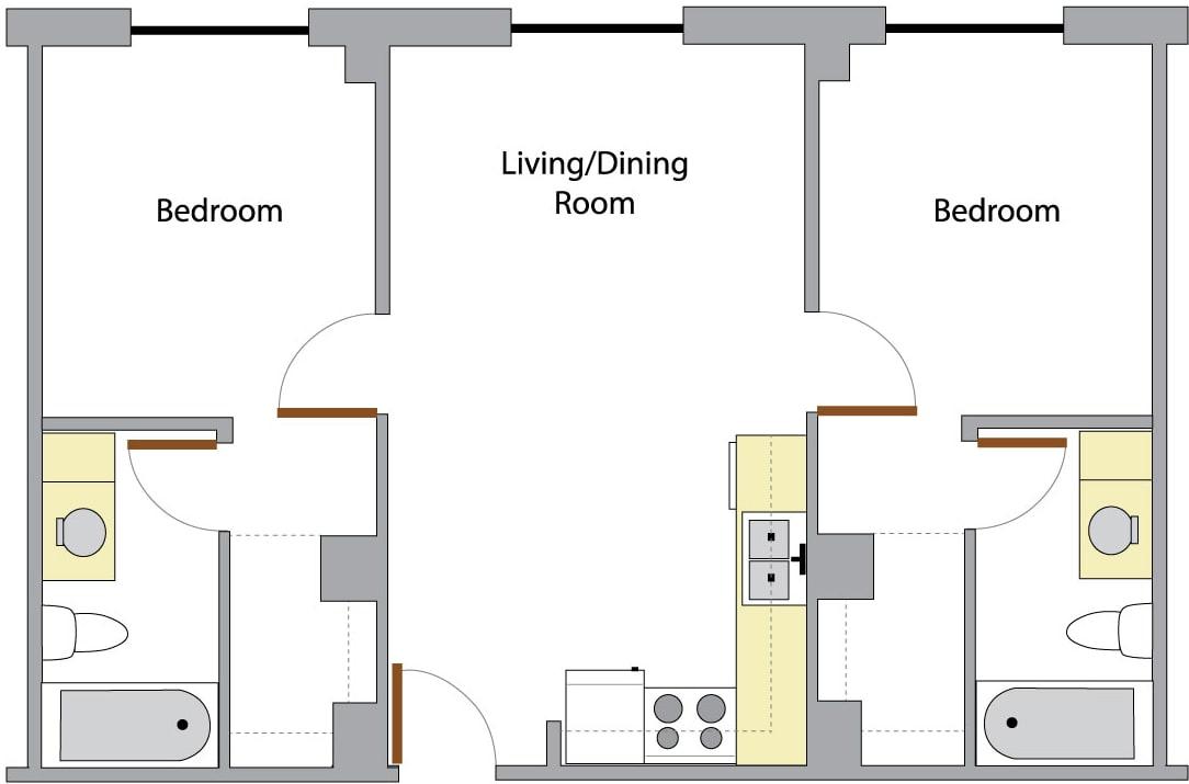 washington hall two bedroom layout