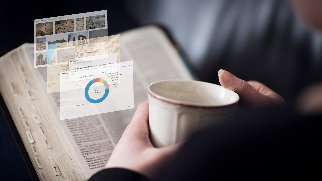 This is an image of an open Bible and a cup of coffee