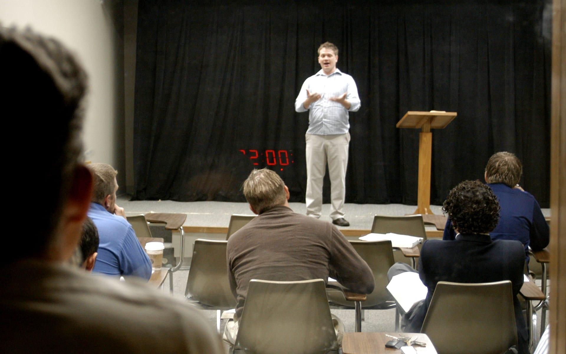 student preaching in preaching class