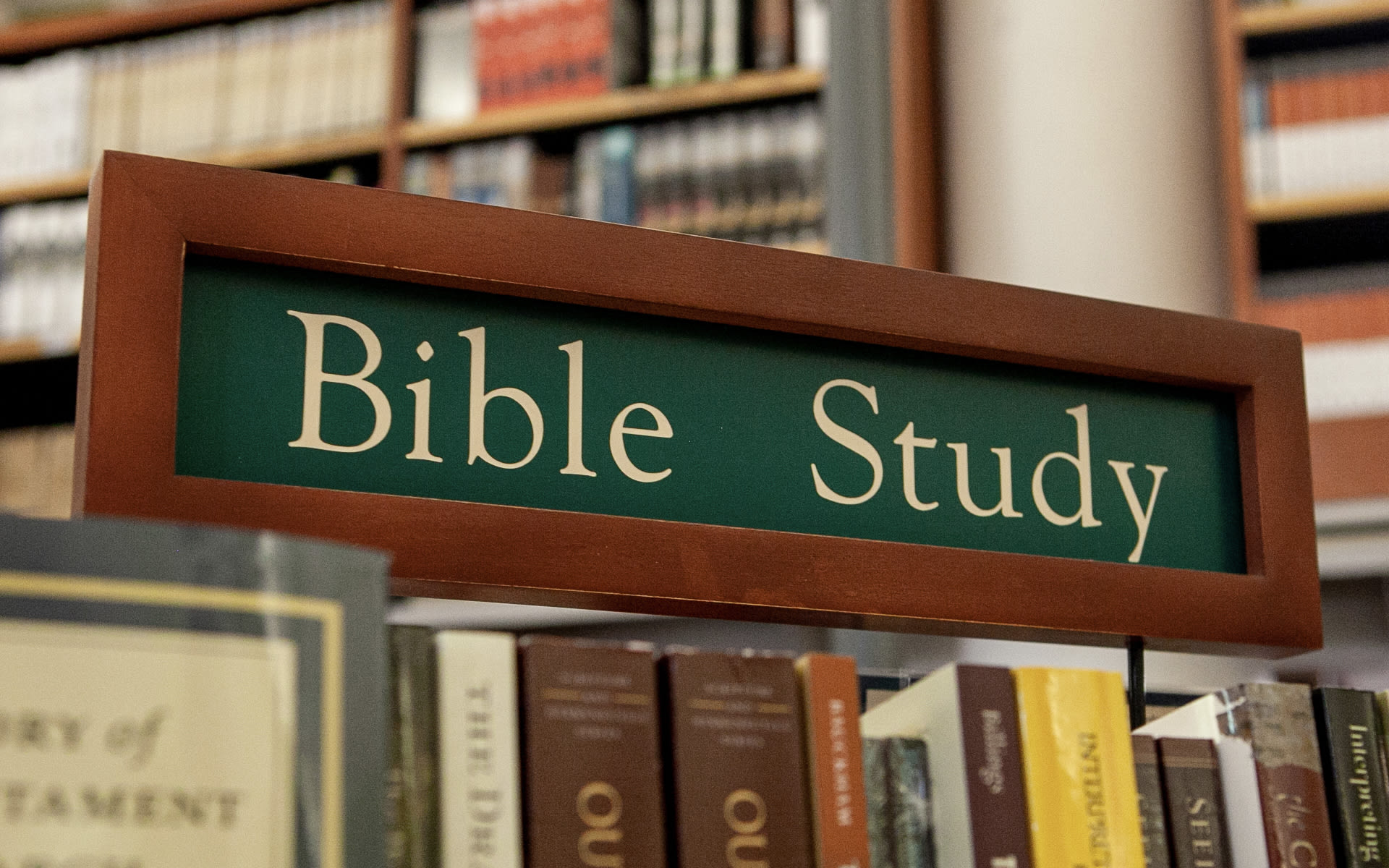 Bible study sign in bookstore