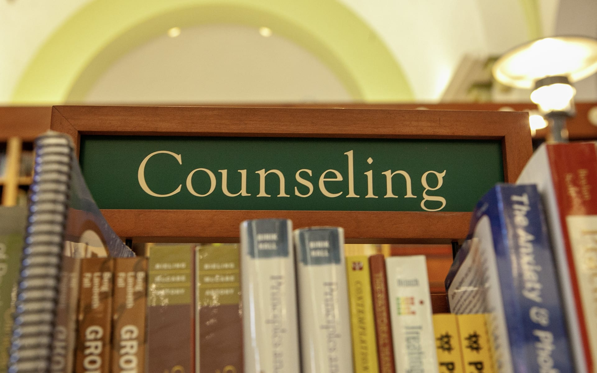 counseling books section in the DTS bookstore