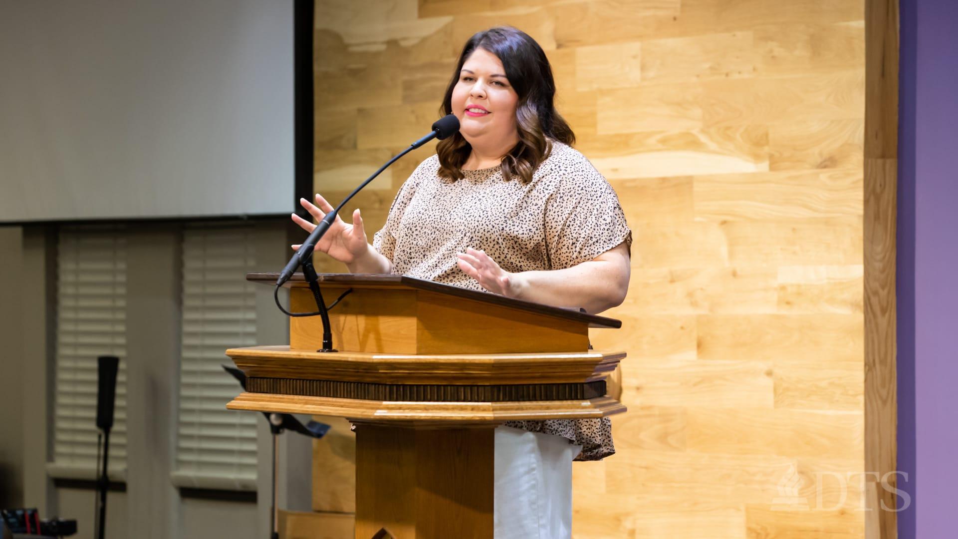 A photo of Liz Rodriguez in Lamb Auditorium at DTS
