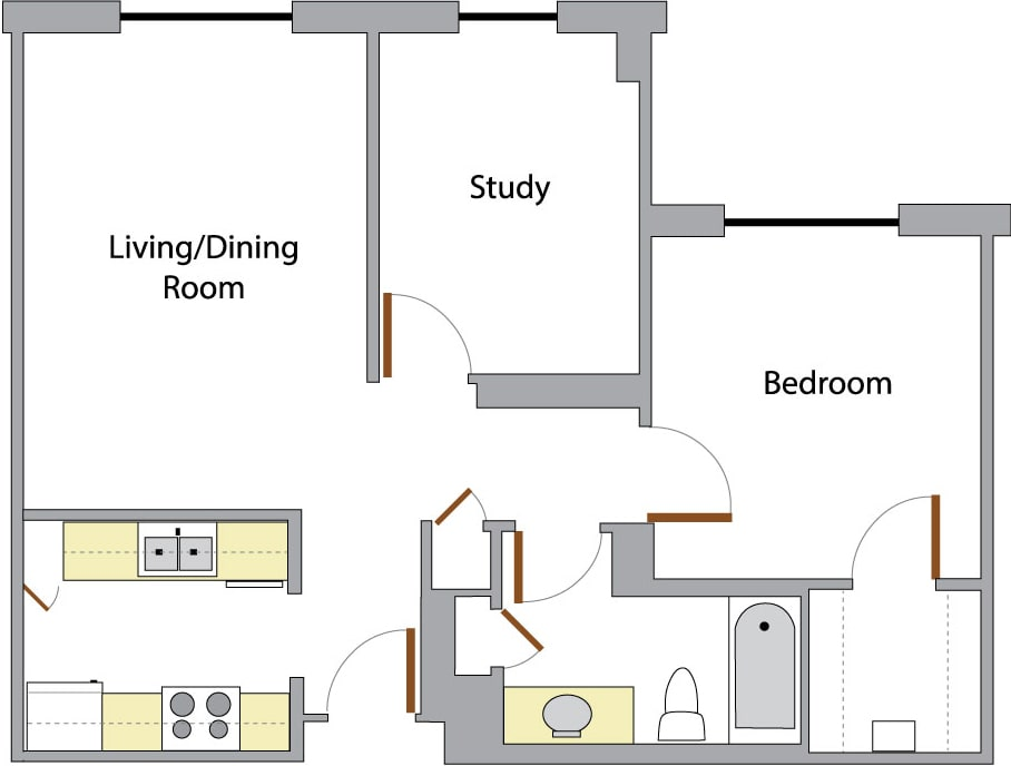 Swiss Tower one bedroom layout