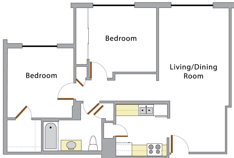 Swiss Tower two bedroom layout