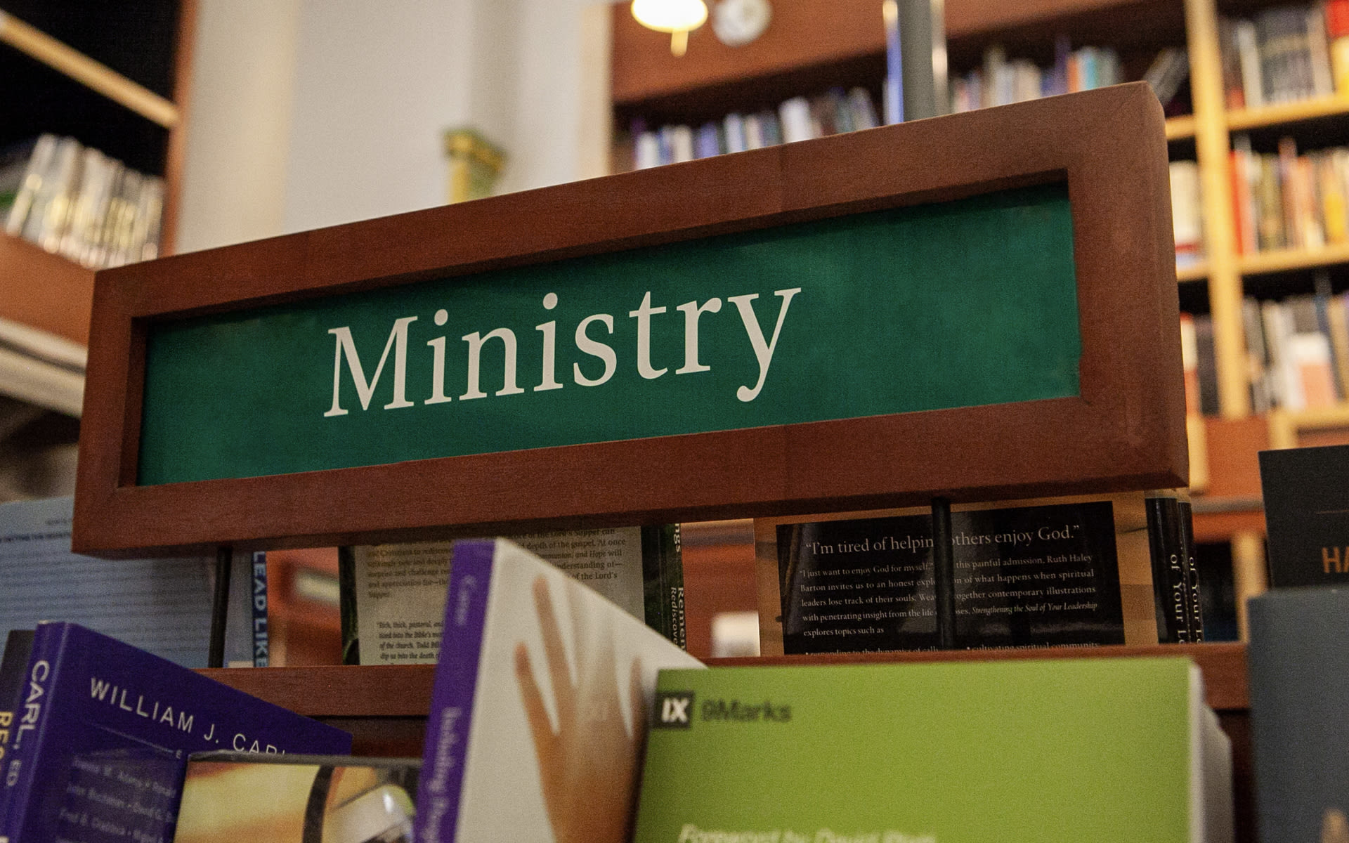 ministry sign in the bookstore