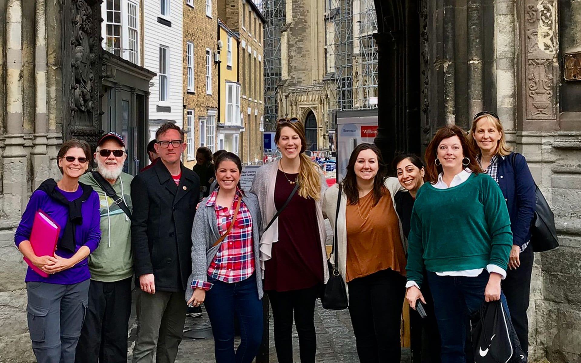 Sandi Glahn and Reg Grant and a group of students in Europe