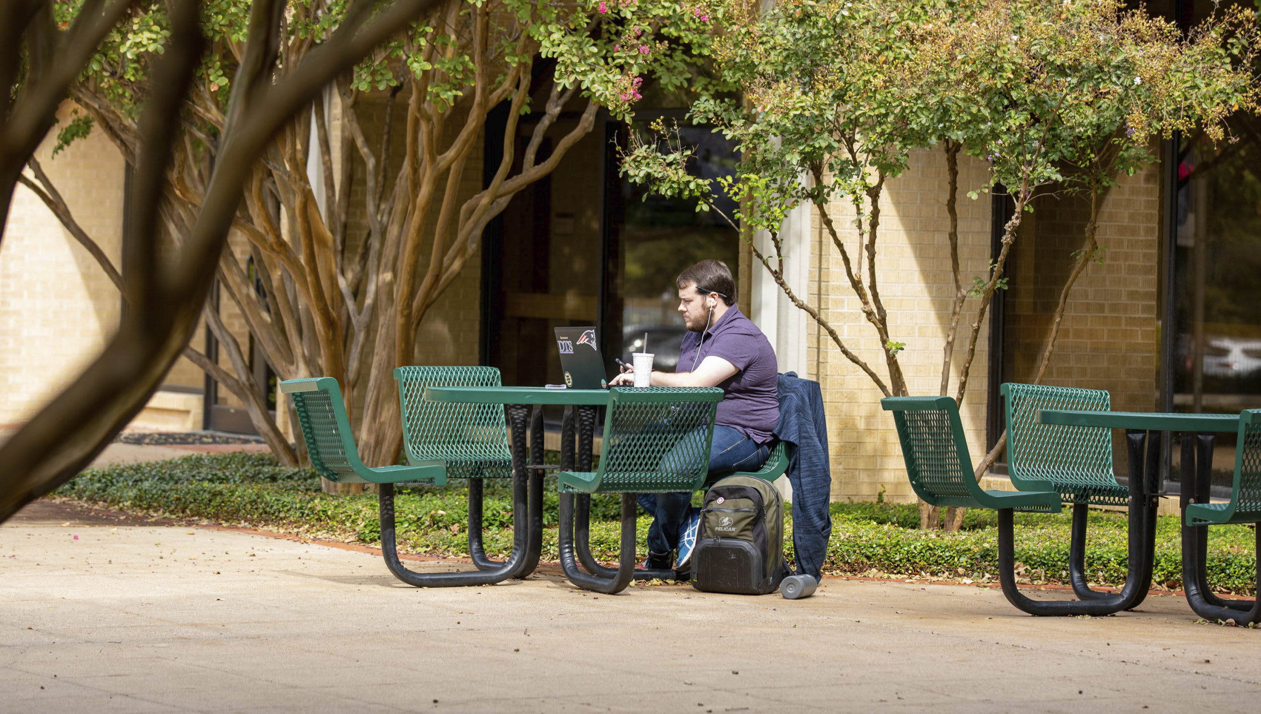 tables outside of Walvoord Hall