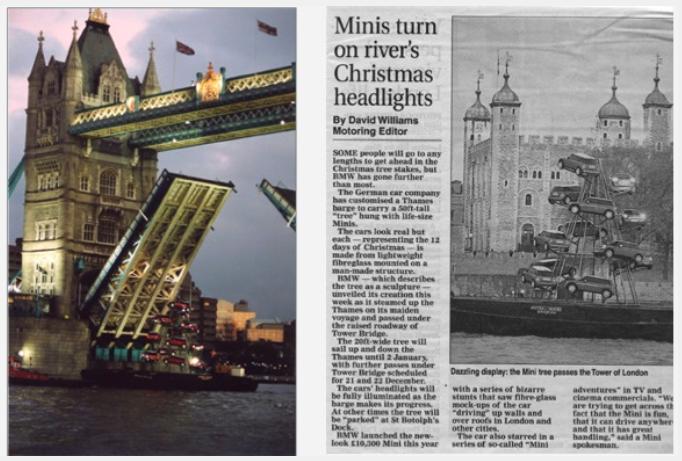 Fibreglass MINI Cooper R50 Christmas Tree Advertising Campaign Newspaper article
