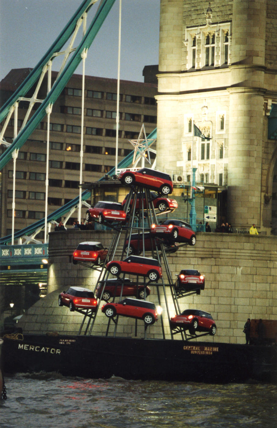 Fibreglass MINI Cooper R50 Christmas Tree Advertising Campaign on the Thames