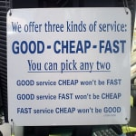 Agile project service advert - good cheap or fast
