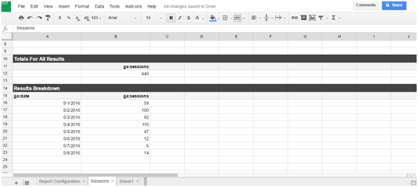 Google Analytics report automation using spreadsheet ad-ons