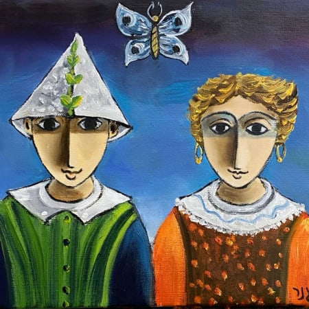 BUTTERFLY COUPLE by Yosl Bergner [1990]