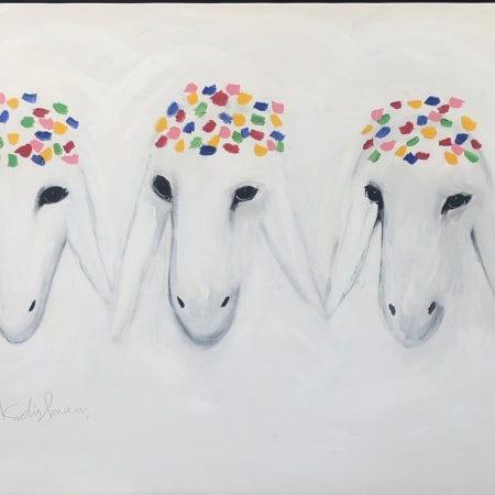 Three white sheeps by MENASHE KADISHMAN [1990]