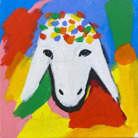 Blue Small Sheep by MENASHE KADISHMAN [1990]