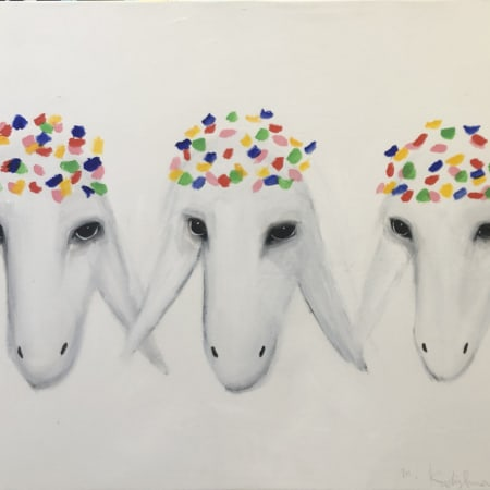 Three white sheeps by MENASHE KADISHMAN [1990]