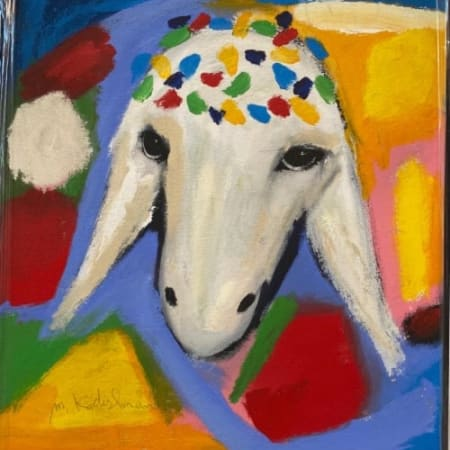 Yellow blue sheep by MENASHE KADISHMAN [2000]
