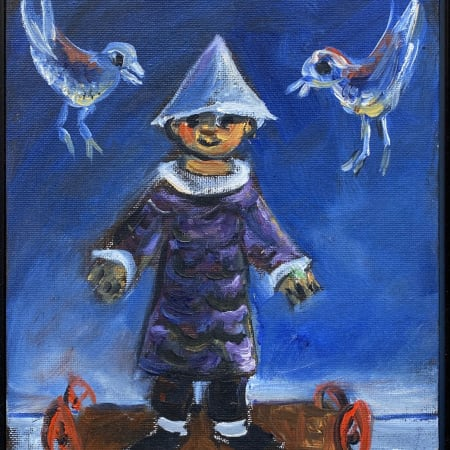 Clown and Two Birds by Yosl Bergner [1990]