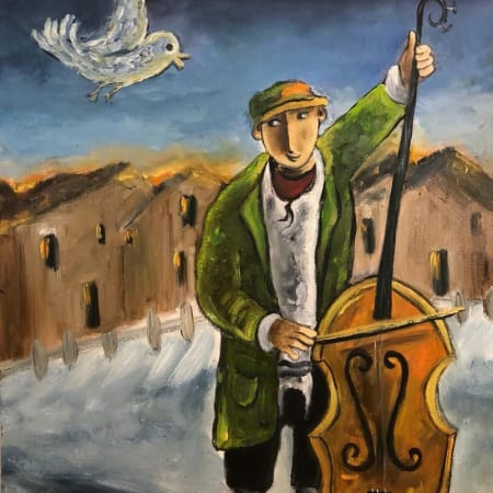 Cellist by Yosl Bergner [1990]